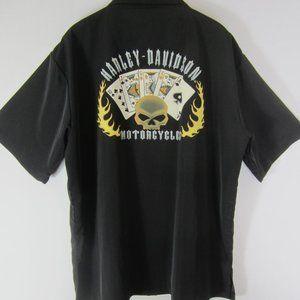 Harley Davidson XL Black Playing Cards SS Shirt